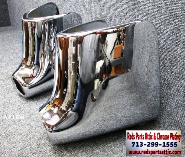 1954/1955 CADILLAC REAR BUMPER EXHAUST TIPS.