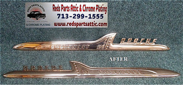 1958 CHEVY APACHE FENDER EMBLEMS.